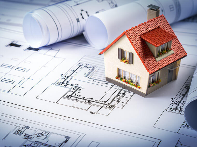 Plans for building renovations with a model house